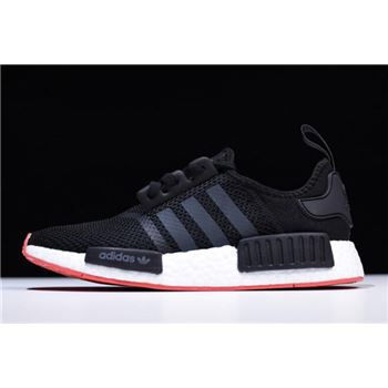 New Adidas NMD R1 Black/Carbon-Trace Scarlet Men's Running Shoes CQ2413