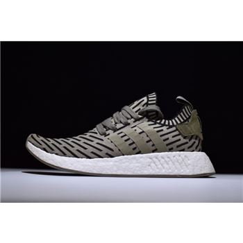 New Adidas NMD R2 Primeknit Olive Green/Trace Cargo BA7198