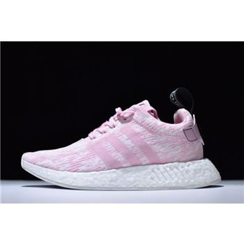 Women's Adidas NMD R2 Primeknit Pink White Running Shoes BY9315